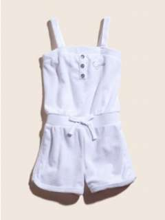 GUESS Kids Girls Terry Cloth Romper, WHITE (16) Clothing