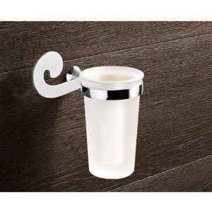 Gedy 3310 13 Wall Mounted Frosted Glass Toothbrush Holder With Chrome