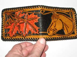 GENUINE HAND CARVED LEATHER WALLET HORSE & MAPLE LEAF