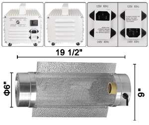 400 WATT HPS GROW LIGHT COOL TUBE WING REFLECTOR 400W