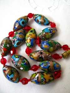 VENETIAN GLASS BEAD NECKLACE ADVENTURINE ART DECO MURANO