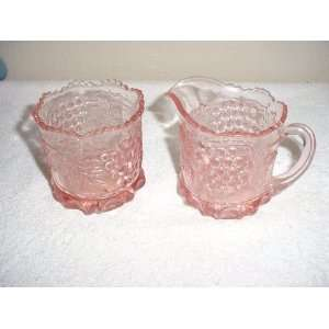 Large Pink Glass Grape & Cable Creamer & Sugar Everything