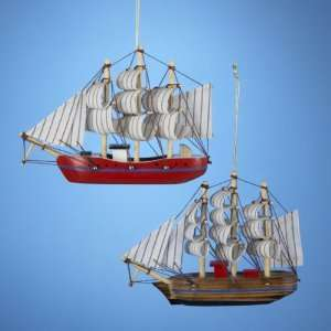 Club Pack of 12 Wooden Barque Sailing Ship Christmas