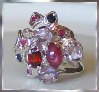 Superb Star Ruby Multi Gem Sterling Silver Ring Size 8.0