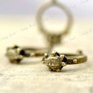 50 Ring Charms Antique Brass bronze Hearts Love TS7401