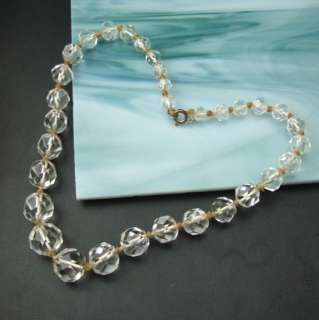 Art Deco Large Faceted Rock Crystal Beads Vintage Hand Knotted