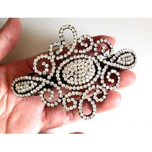 Wedding Bridal Prom Black Metal Crystal Rhinestone Hair Barrette Clip