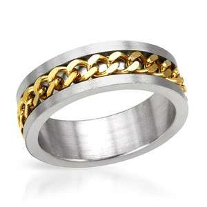 Stainless Steel Gold Silver Tone Band Ring Size 13 Mens Wedding