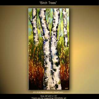 painting modern art IMPASTO palette knife BIRCH TREES OSNAT