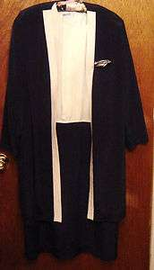 Two Piece Dress & Jacket by Leslie Fay Collections (Navy Blue & White