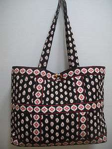 VERA BRADLEY BLACK TIC TAC TOTE PURSE XL BAG HANDBAG vintage shopper
