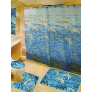 New Sea World Dolphin 6 Piece Bathroom Mat / Rug Set