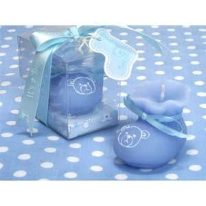 Blue Teddy Bear Baby Bootie Candle Favor Health