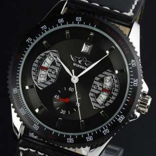 Elegant Mens Automatic Mechanical Leather Band Analog Men Boy Watch
