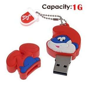 1G Rubber USB Flash Drive with Shape of Smurfs (Red) Electronics