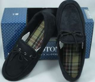 ISOTONER MENS BOATER MOC SLIPPERS BLACK INDOOR OUTDOOR M 8 9 / XXL 13