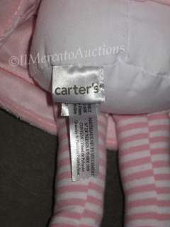 CARTERS Plush Baby Girl Doll Dolly PINK Dress Blonde Blue Eyes Soft