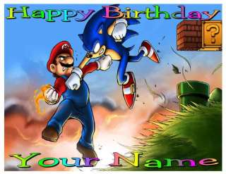 Sonic Mario   a   Edible Photo Cake Topper