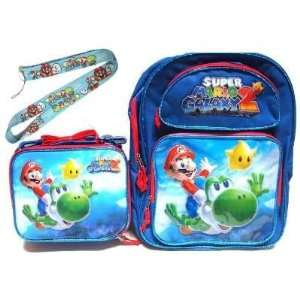 Super Mario backpack and Lunch bag with lanyard school set