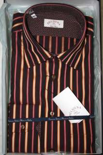 Delsiena ITALY Mens Purple Striped Dress Shirt New in Box SKU 39