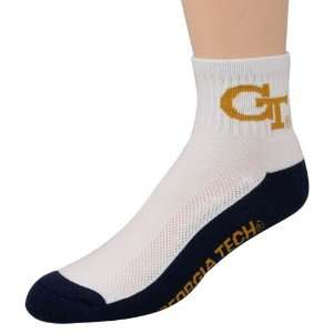 Tech Yellow Jackets White Navy Blue Quarter Socks