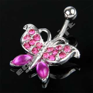 Steel Ball Pink Butterfly Gem Crystal Navel Belly Ring