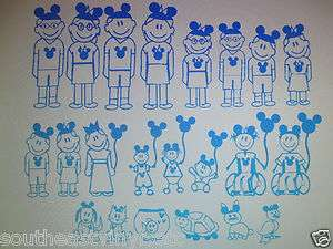 Disney stick figure family people Mickey decal sticker