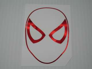 Red Chrome Spiderman Mask Outline Vinyl Decal