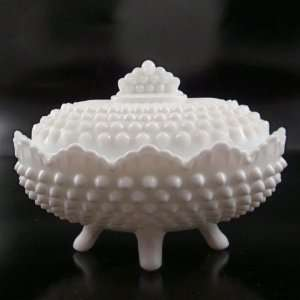 Fenton Milk Glass Hobnail Oval Candy Box & Lid #3786
