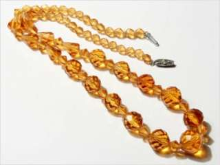 CZECH DECO TOPAZ TIN CUT FACETED GLASS BEADS NECKLACE 18