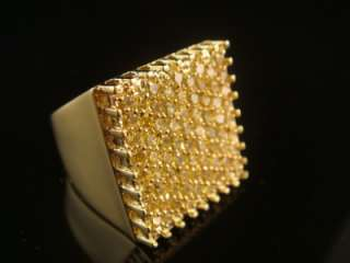Yellow Gold Finish Diamond Simulate Fashion Icy Ring Size Selectable