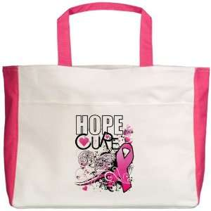 Beach Tote Fuchsia Cancer Hope for a Cure   Pink Ribbon