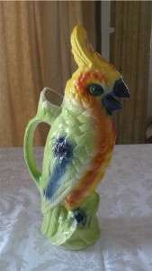 ANTIQUE BARBOTINE MAJOLICA PARROT PITCHER, ST CLEMENT