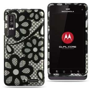 Black Flower Lace Hard Cover Case For Motorola Droid 3
