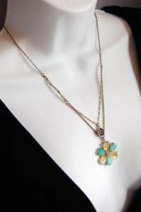 NWT Lucky Brand Double 2 Strand Stone Flower Necklace Turquoise Yellow
