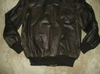 mens 40 brown lined zipper LEATHER Flight bomber jacket USA