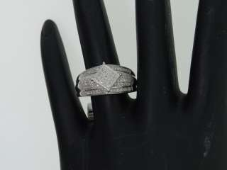 LADIES WHITE GOLD FINISH PAVE DIAMOND DESIGNER RING