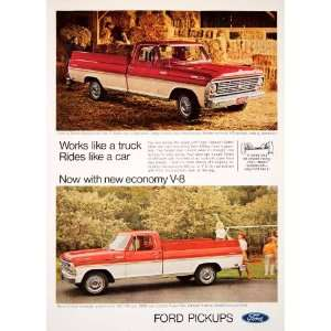 1969 Ad Ford Pickup Camper Truck Automobile Twin I Beam