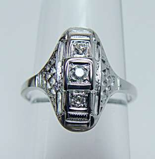 JABEL Antique 18K White Gold Diamond Filigree Ring Estate Jewelry