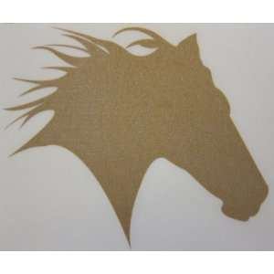 Small Gold Glitter Horse Head Silhouette Car, Truck Window