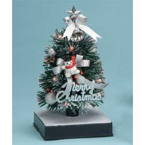 Fiber Optic Christmas Tree   8H   Silver Bow & Ornaments