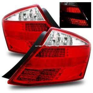 08 09 Honda Accord 2 Door LED Tail Lights   JDM Red Clear