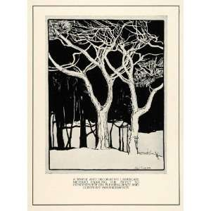 Woods Tree Night Illustration Art Sybil Emerson   Original Lithograph