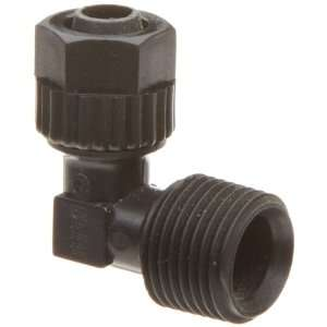 Tube Fitting, 90 Degree Elbow Adapter, Black, 1/2 Tube OD x 1/2 BSPT