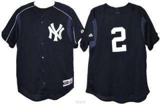 JETER # 2 New York YANKEES MLB MAJESTIC BLUE MESH JERSEY MENS S M L XL