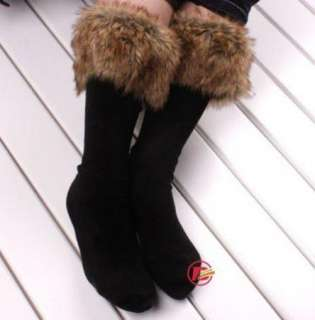 Faux Fur Cover on Socks Half Long Stockings fit Boots