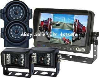 One 7 Digital Quad Monitor + Two Waterproof IR CCD Side Cameras + Two