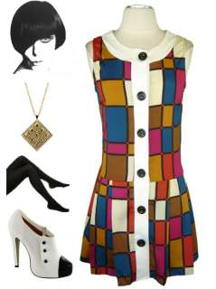 60s Style MOD SQUAD MONDRIAN Inspired Sleeveless Drop Waist SCOOTER