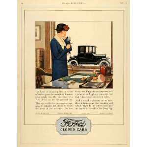 1924 Ad Ford Closed Car Tudor Sedan Coupe Women Fordor