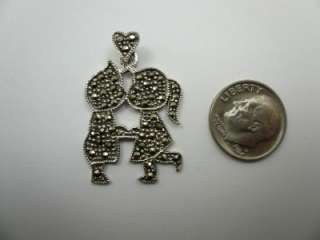 Sterling Silver Marcasite BOY GIRL Charm Pendant